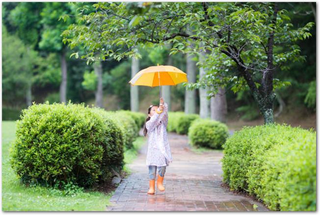 雨合羽を着て傘をさして歩く長くつの女の子