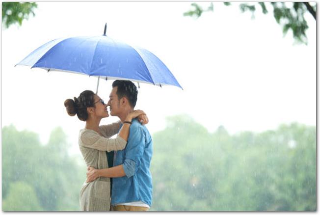 雨の日の傘の中のカップル
